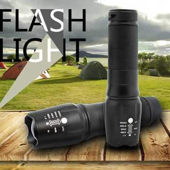 Powered By 18650/26650/AAA Battery Waterproof Led Flashlight Torch Powerful Flash Light 1600 Lumens T6 Zoomable Led Tourches image