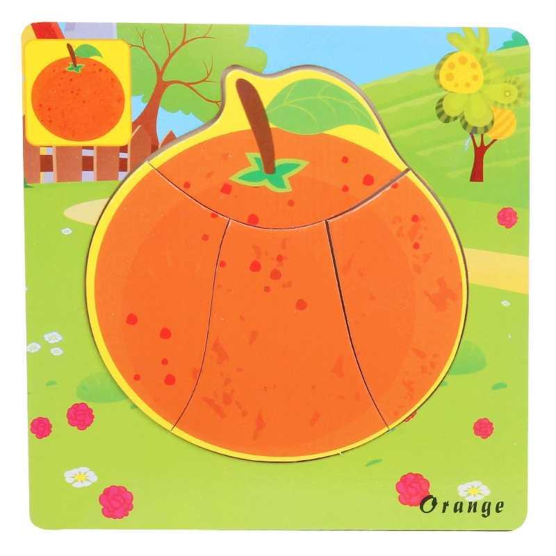 Bulmaca Meyve Sebze Jigsaw Bebek Oyuncak 3D ahşap yapbozlar Çocuklar Için Zeka Erken Öğrenme Eğitim Oyuncaklar çocuk bulmacaları