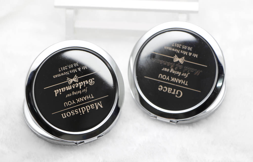 Personalized compact mirrors Custom Engraved  pocket makeup mirror case wedding favor #18413 50X/LOT-in Makeup Mirrors from Beauty & Health    1