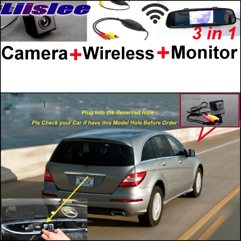 Liislee Original Hole Camera + Wireless Receiver + Mirror Screen Parking System For Mercedes Benz R MB W251 R300 R350 R500 R63