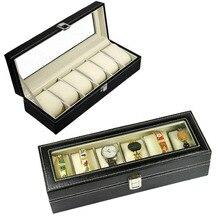 6 Rejilla Ataúd Cajas de Reloj de Cuero de la Joyería Soporte De Exhibición De Almacenamiento caso Bobinadora Refinamiento Slots Relojes de Regalo