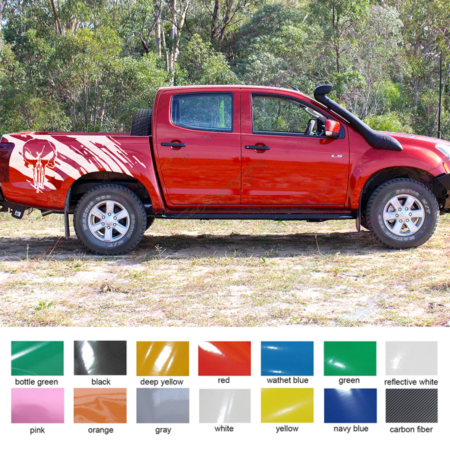 2 PC skull side stripe graphic Vinyl sticker for isuzu dmax 2012-2017 PICKUP free shipping 2 pc gradient side stripe graphic vinyl sticker for dacia logan pickup sticker