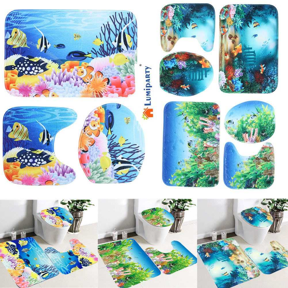 LumiParty Bathroom Rug Toilet Lid Cover Mat Set Cartoon Sea Ocean Fish  Animals Non Slip