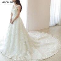 Vinca Sunny Bridal Gowns Zipper Back Wedding Boho Dress Lace Applique Chapel Train Wedding Dresses 2018