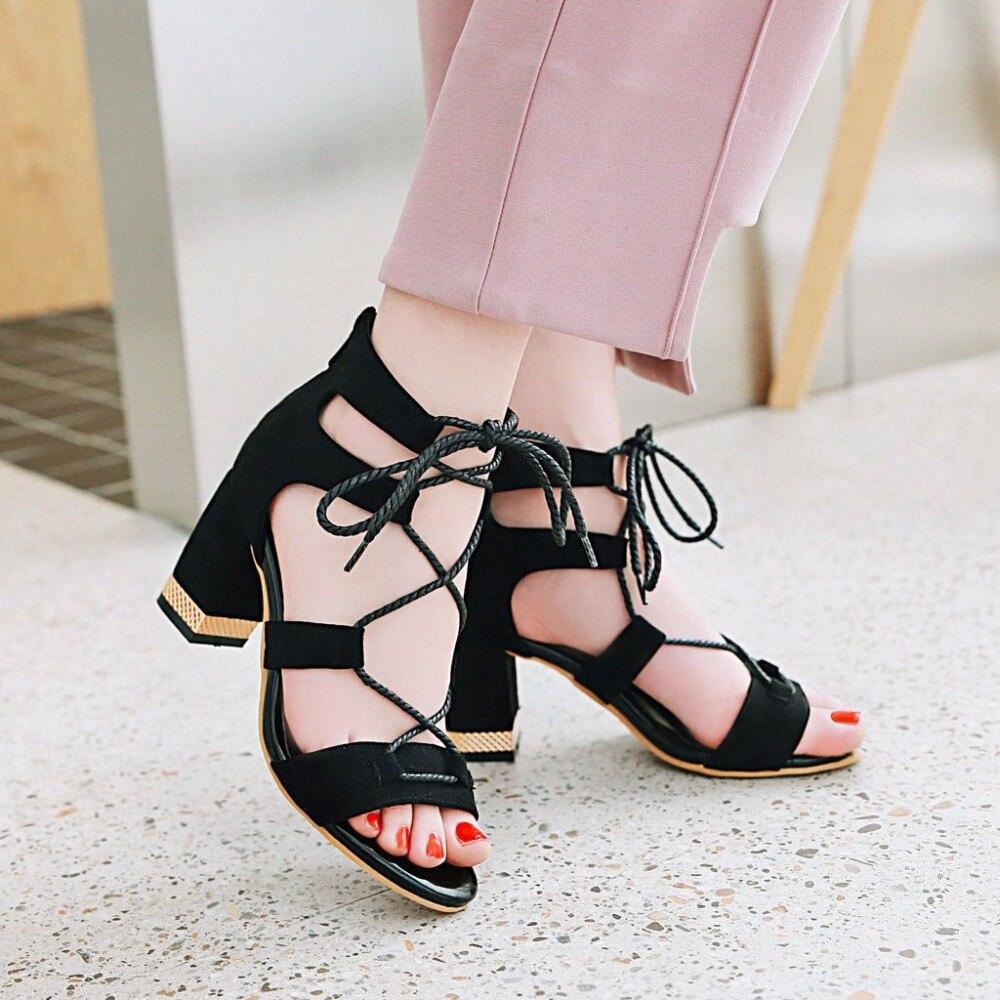 Nuevas Gladiador Tacón Verano Con Grueso Sandalias Beige Tacones Zapatos Mujer red Lace Cremallera De Las 2017 Mujeres Altos black Up dxAad6q