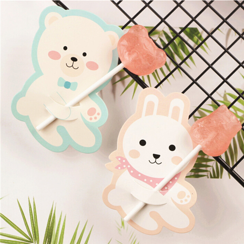 50 Pcs Cute Animal Bear Rabbit Candy Lollipop Decoration Card Wedding Supplies Kids Birthday Party Candy Gift Accessories
