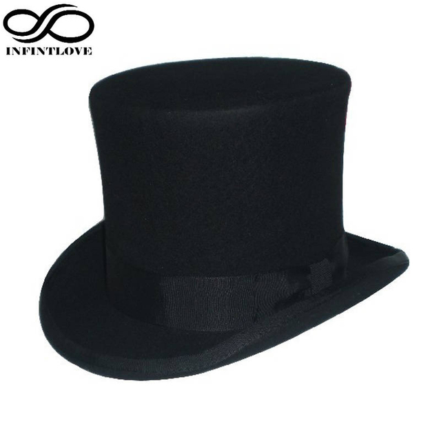 Luckylianji 15 cm estilo británico negro Steampunk Mad Hatter Top lana  tradicional Fieltro 100% Sombreros d4b7d79afce