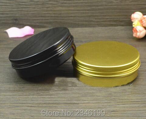 100G 100 ML Aluminium Jar Emas Hitam Warna Krim Pot, kosmetik - Alat perawatan kulit