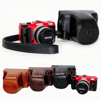 Leather Camera Case Bag Cover Shoulder Strap Grip For Pentax Q 10 Q10 With 5 15mm