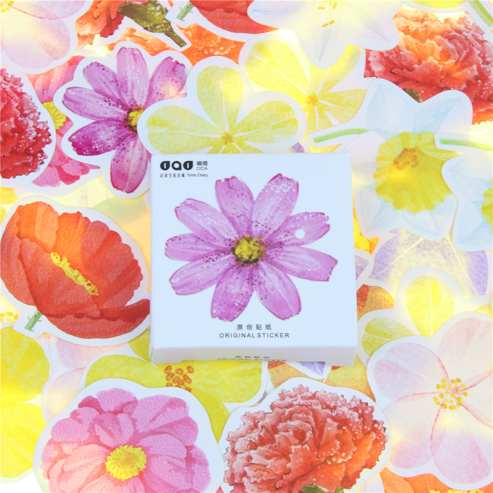 45 Pcs/pack Cute Kawaii Colorful Petals Papers Stickers Diary Decoration Scrapbooking DIY Stationery Sticker