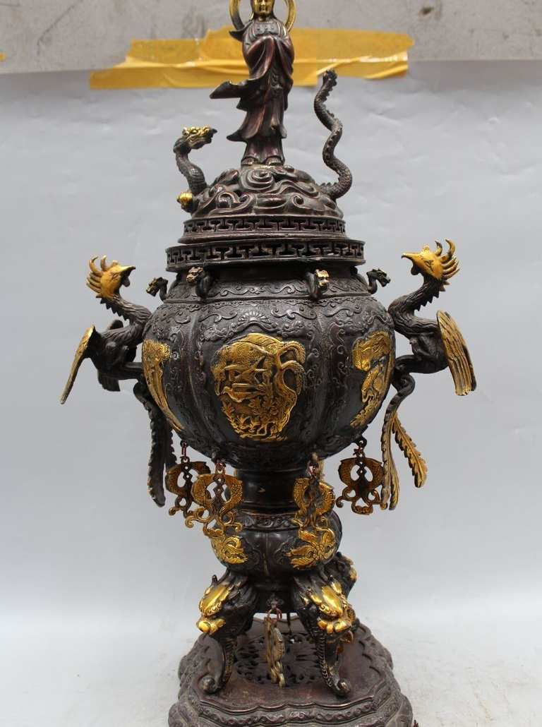 25 Chinese dynasty Bronze Gild Dragon phoenix Kwan-Yin Incense Burner Censer25 Chinese dynasty Bronze Gild Dragon phoenix Kwan-Yin Incense Burner Censer