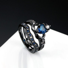 1PC Fashion Double Ring Lady Blue Zircon Heart Ring Jewelry direct кольцо fashion ring 3colors double fingers ring