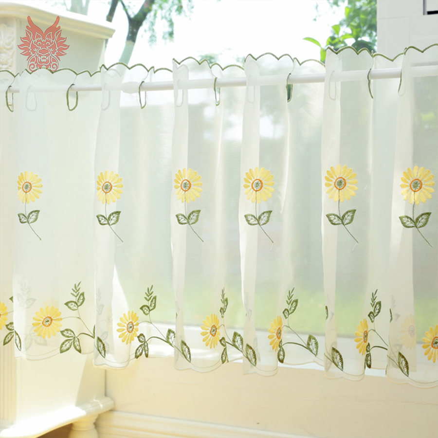 2016 New Fashion Floral Embroidery Lace Half-curtain Bay Window Curtain For Coffee Kitchen Room Home Decor SP3769 Free Shipping