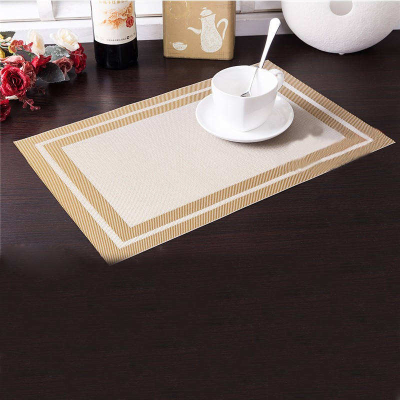 4pcs modern pvc waterproof table mat home kitchen dinning rectangle palcemat stripe coaster table mats set - Kitchen Table Mats