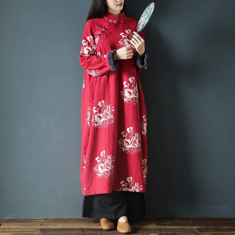 Vintage Coton Hiver Lâche Femmes Épaississement Blue Stand 2019 Robes Jacquard Rétro Polaire Scuwlinen Imprimer X0790 red col Robe RFqPIwpx