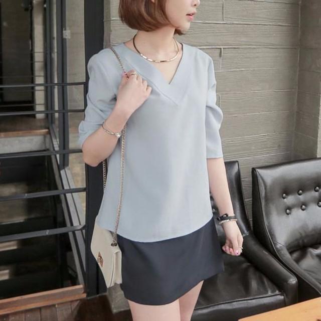 9f3126c06393 EFINNY sexy tops Summer V-neck Chiffon Blouse Women Office Ladies Top Work  Shirts Clothing Korean White Gray Pink