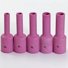 TIG длинная глиноземная керамическая насадка газовая линза для объектива Комплект аксессуаров подходит для TIG сварочный фонарь PTA DB SR WP 17 18 26 серия 5 шт