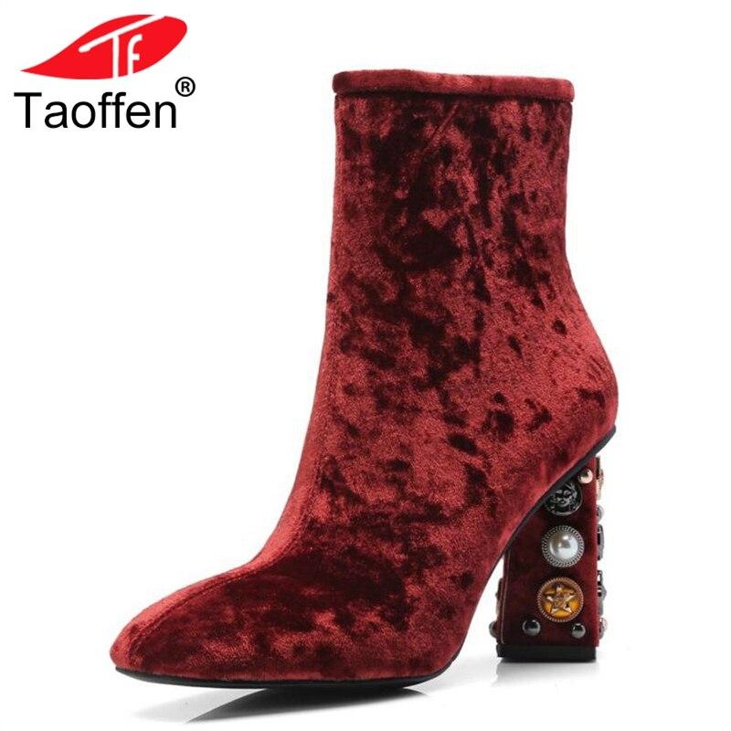29407f8e Diseñador Toe Tacones De Invierno Altos rojo Square Botines Zapatos Lujo  Crystal Tamaño Caliente Del Botas Bling 43 Taoffen Mujer ...