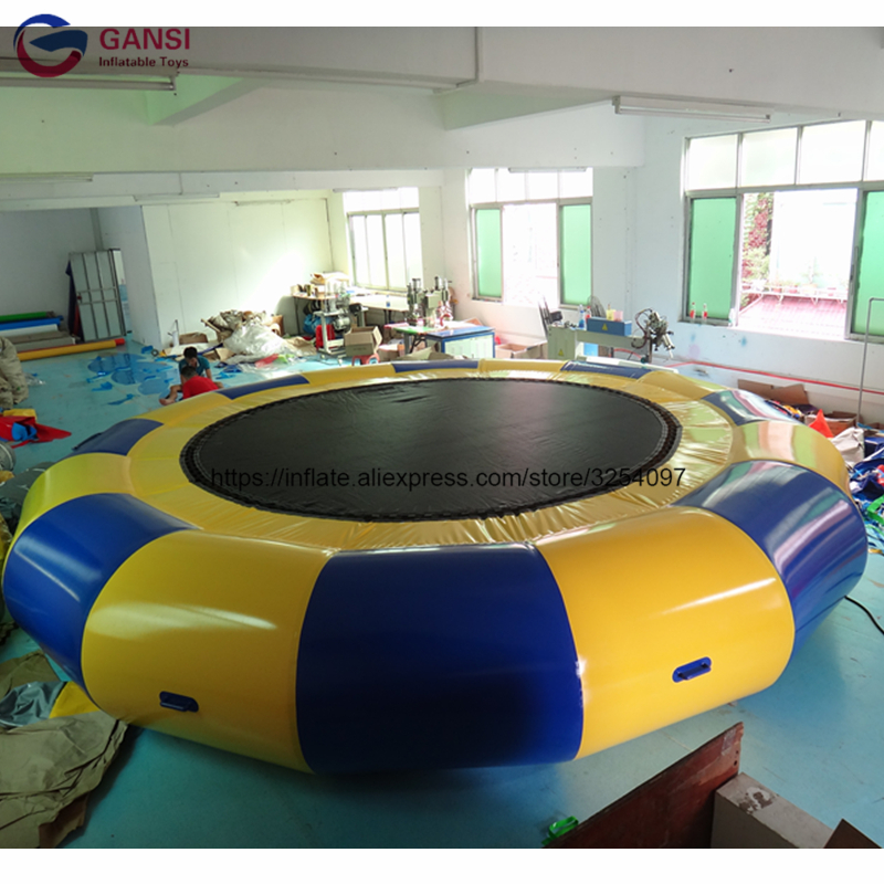 Newest hot selling 4M inflatable water trampoline float , trampoline park inflatable jumping water bed for entertainment 5m 4m 4m float unicorn water park inflatable water island inflatable iceberg for funny games inflatable ice tower