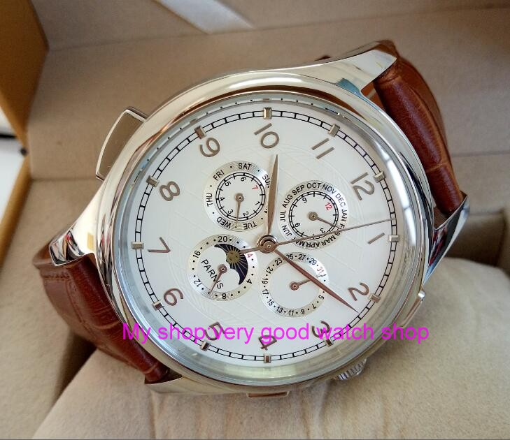 лучшая цена 44MM PARNIS Automatic Self-Wind movement white dial multi-funtion men's watch Mechanical watches 58g