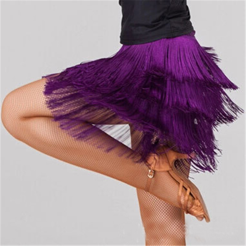 New Tassel Dance Skirt Latin Ballroom Samba Top Costume For Women Girls 4 Layers Fringe Sexy Salsa Short Skirts Female Dancewear