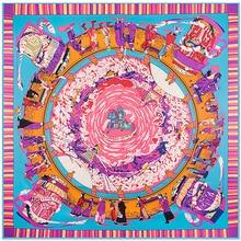 [POBING] Шелковый квадратный шарф, женский роскошный брендовый шейный платок, королевская Бандана с принтом, Женская шаль, большая накидка, женский платок