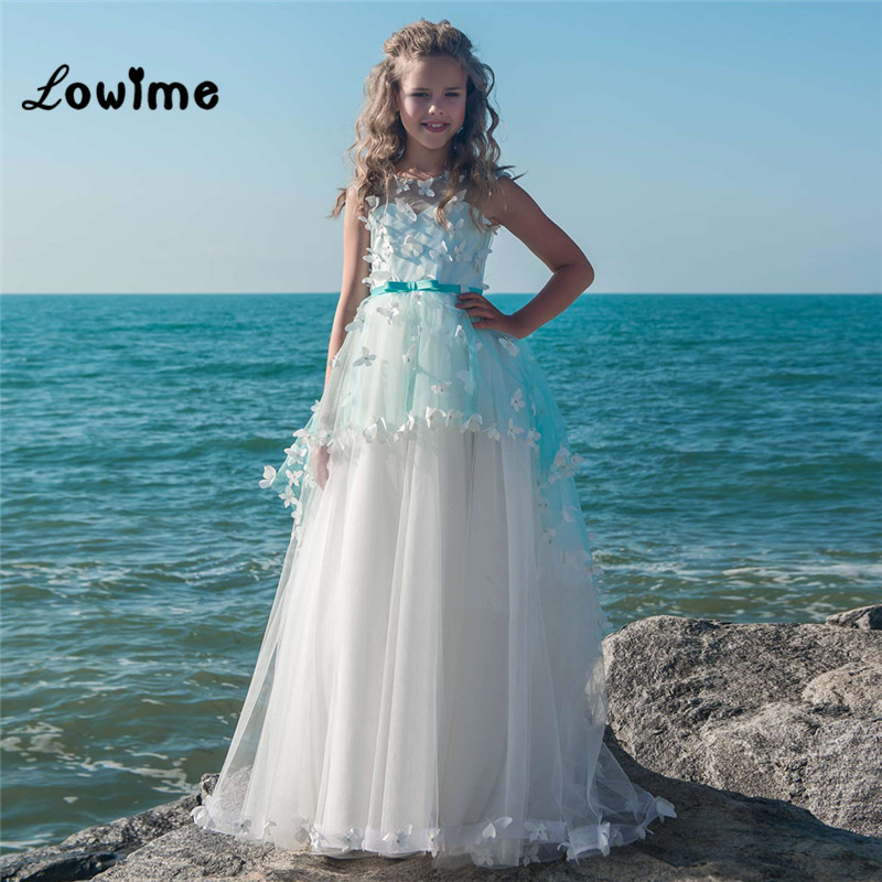 Flower     Girl     Dresses   For Weddings Ball Gown Butterfly Kids Evening Gown First Communion   Dresses   For   Girls   Vestido Longo