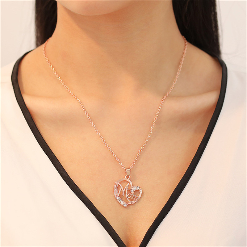 TTLIFE Unique Heart Mom Mama Necklace Rose Gold Color Jewelry Gift For Mother MUM Letters Pendant Wholesale
