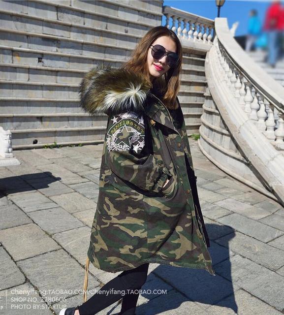 2017 Новый Женщины Зима Army Green Настоящее Меховая Куртка Пальто толстые Парки Плюс Размер Меховой Воротник Капюшоном Верхняя Одежда С Длинным Рукавом парки