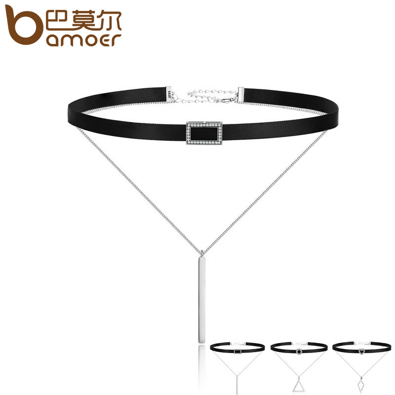 BAMOER Trendy Double Layer 925 Sterling Silver & Black Braid Bar Square Chokers Pendant Necklaces Femme Collar Jewelry SCN080 недорго, оригинальная цена