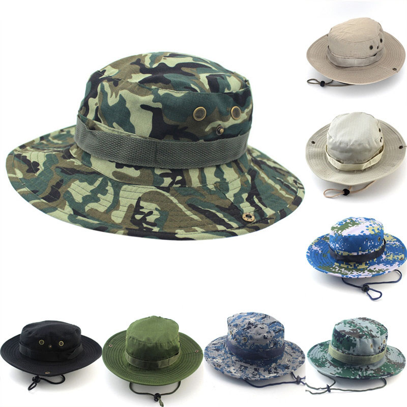 Us 1 9 44 Off 1pc Men Women Camouflage Bucket Hat With String Fisherman Cap Military Panama Safari Sun Hats Cap In Men S Bucket Hats From Apparel