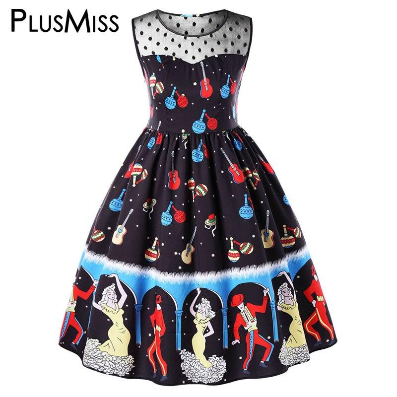 PlusMiss Plus Taille 5XL Vintage Rétro Danseur Imprimer Partie Sans Manche Robe Femmes Vêtements Grande Taille Rockabilly Swing Robe 2018