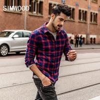 SIMWOOD 2018 Autumn Men Flannel Plaid Shirt 100 Cotton Casual Long Sleeve Shirt Slim Fit Styles