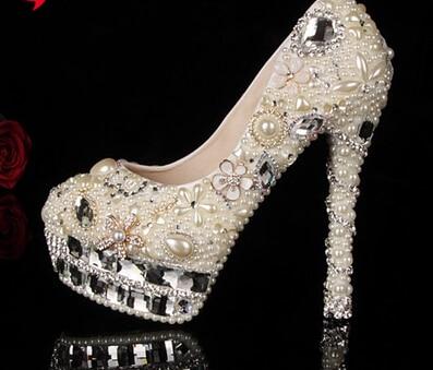 Верховный любовь жемчужина бриллиантовую свадьбу обуви невесты обувь тапочки одиночные высокие каблуки для женщин обувь водонепроницаемы