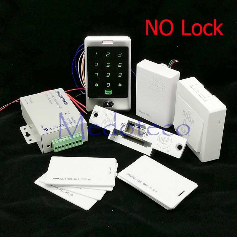 DIY Waterproof 125khz Rfid Door Access Control Kit Set + Electric Strike Lock +10 RFID Card Outdoor Access Control diy waterproof 125khz rfid door access control kit set electric strike lock 10 rfid card outdoor touch keypad access control