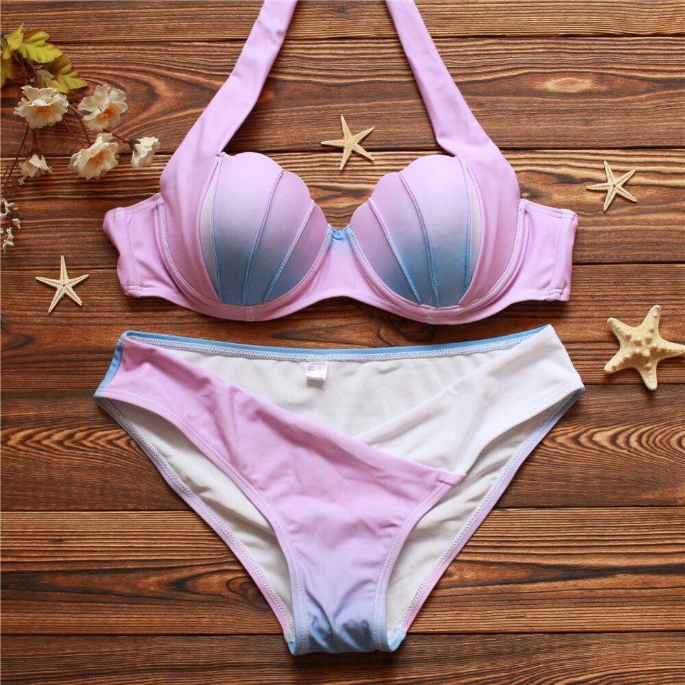 The new fashion selling 2016 split type gradually sexy bikini swimsuit color shells