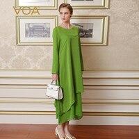 VOA Green Color Long Sleeved Silk Dress Casual Loose Temperament Asymmetric A Word Dress A6385