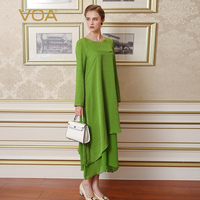 VOA Green Color Long Sleeved Silk Dress Casual Loose Temperament Asymmetric A Word Dress A6385