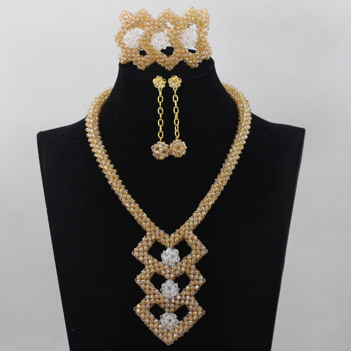 Charming Irregular Row Gold Crystal Beads Necklace Nigerian Wedding African Beads Jewelry Set New Brooch Free Shipping ABL613 charming crystal gold rose brooch