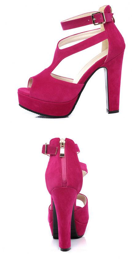 QUTAA 2017 Women Pumps Summer Black Ladies Shoe Square High Heel Peep Toe PU Leather Zipper Woman Wedding Shoes Size 34-43 5