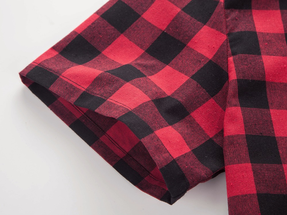 Red And Black Plaid Shirt Men Shirts 19 New Summer Fashion Chemise Homme Mens Checkered Shirts Short Sleeve Shirt Men Blouse 6