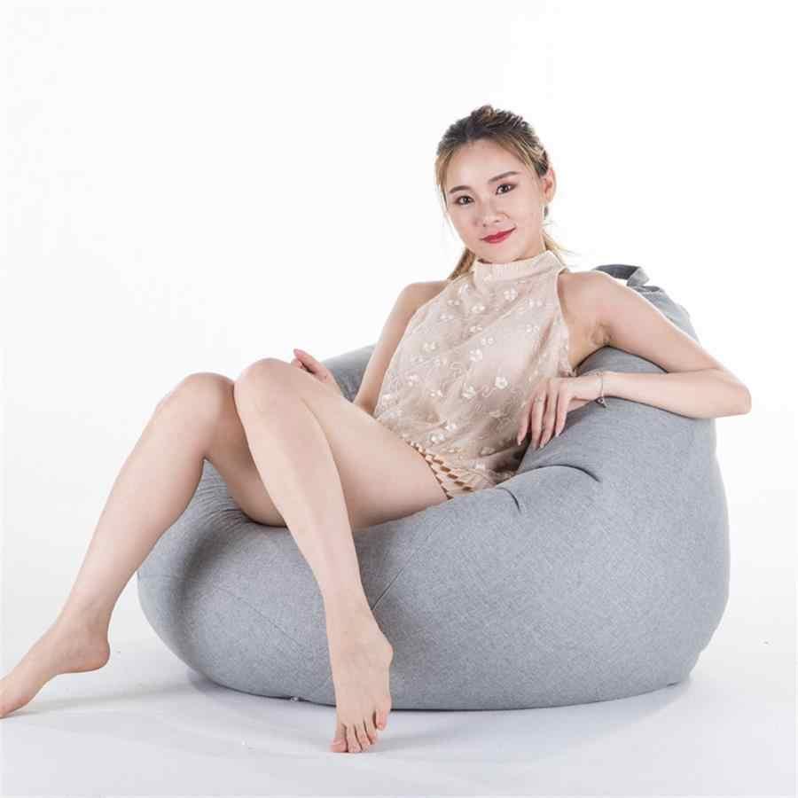 Funda de bolsa de frijol sólido sin relleno sala de estar dormitorio sofá cama perezoso Casual Tatami Beanbag silla sofá cubierta Puff línea de tela