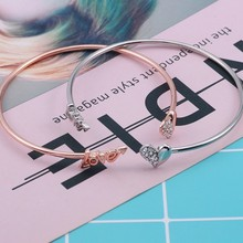 HUMANO FINO 2 Colors Letter Love Crystal Heart Bracelet For Couples Bangle Gold Silver Plated Fashion For Girls Drop Shipping