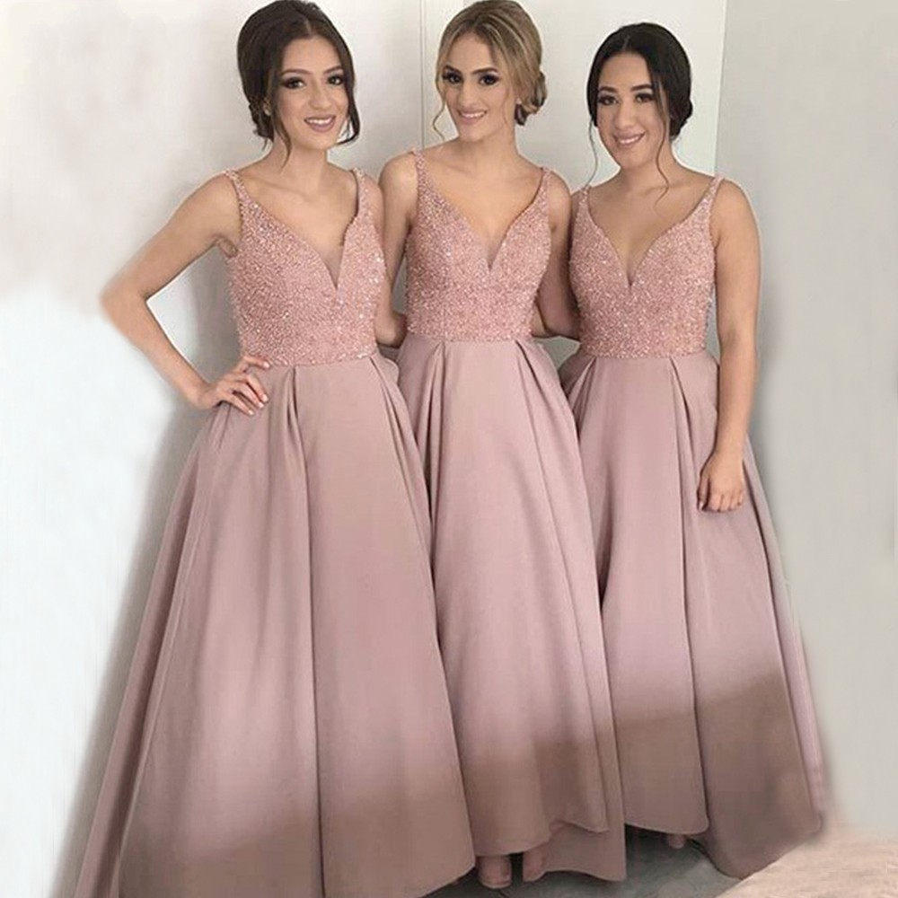 Elegant V Neck Beaded Sequins Dusty Pink Bridemaid Dresses 2019 Satin Prom Dresses Wedding Party Gowns Wedding Guest Dress