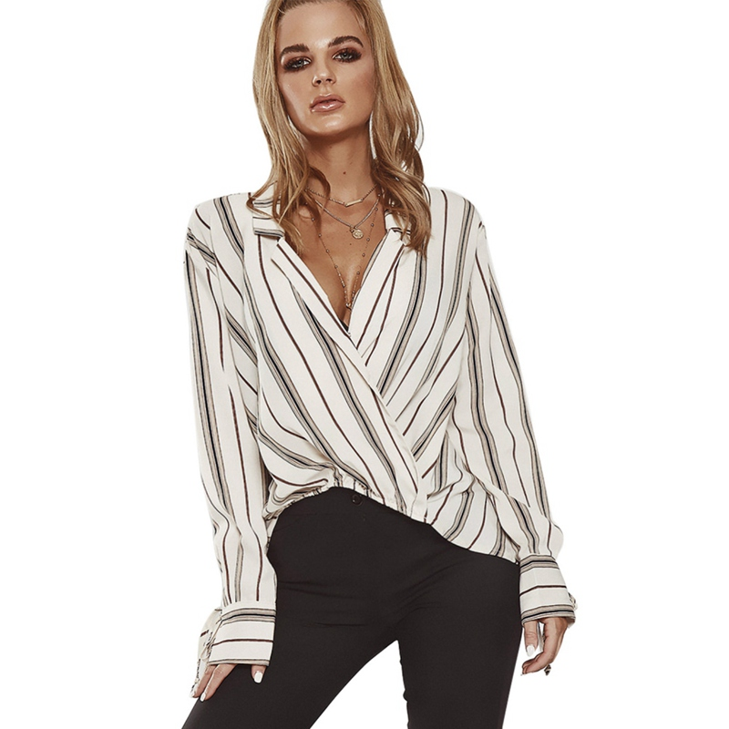 Spring Summer Comfy Blouse Cotton Striped Loose Women\'s Shirt Sexy V-neck Long Sleeve Top Women Shirts Ladies Clothing 2019
