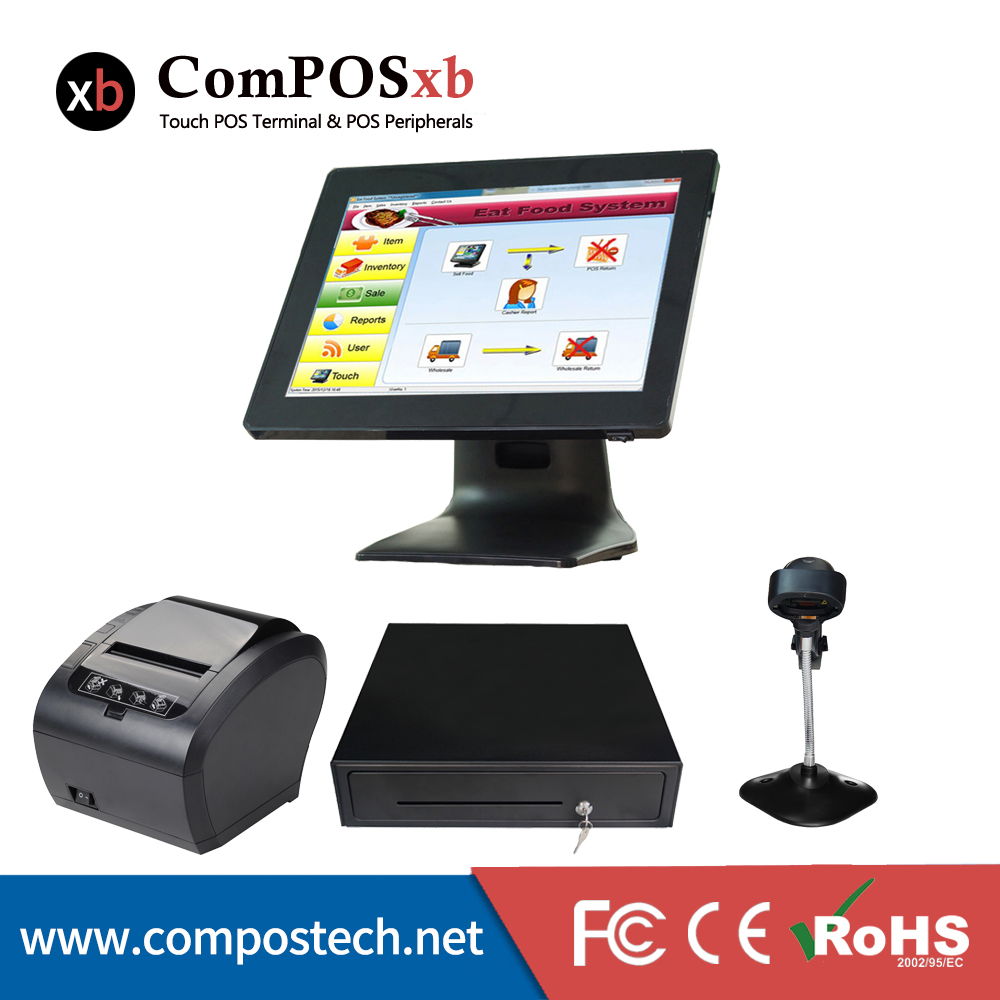 15 inch resistive touch screen//restaurant retail linux//pos all in one pos1518