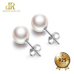 DR Yüksek Kalite İnci Gümüş 925 Damızlık Küpe Güzel Takı 6 MM Beyaz Kabuk Inciler S925 Küpe Kadınlar için Bırak kargo