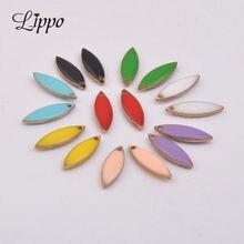 Breloques ovales en cuivre émaillé, 30 pièces, pour Bracelet, collier, pendentif