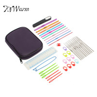 KiWarm 43pcs Multicolour Aluminum Crochet Hook Knitting Needles Handle Knit Set Weave Sweater tools Craft Yarn Stitch Loom Kit