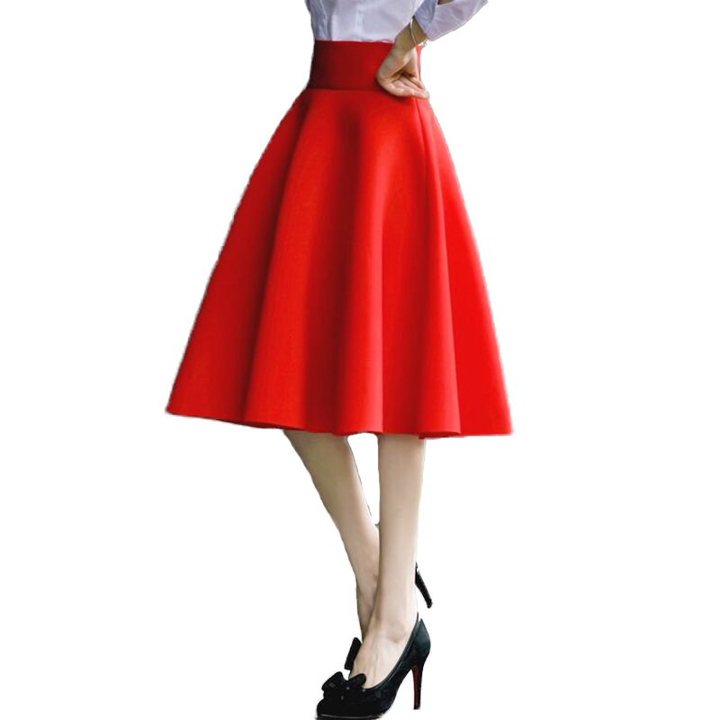 Image 2 - 5XL Plus Size Skirt High Waisted Skirts Womens White Knee Length Bottoms Pleated Skirt Saia Midi Pink Black Red Blue 2019-in Skirts from Women's Clothing